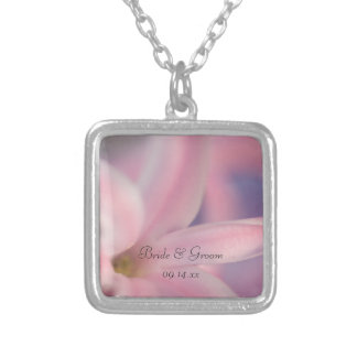 Pink Hyacinth Flowers Wedding Square Pendant Necklace