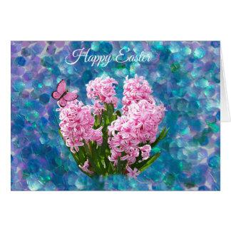 Pink Hyacinths on Blue Mosaic  Easter Card