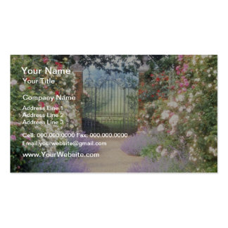Pink Hybrid Rose-Lined Path To Gate, Underplanted Business Card Templates