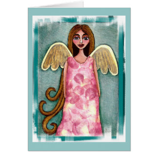 Pink Hydrangea Angel - folk art flower angel card