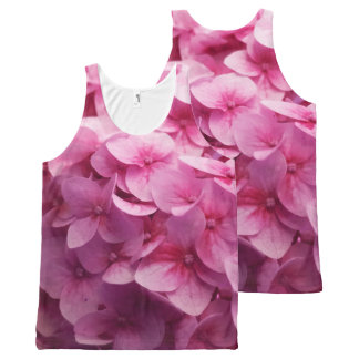 Pink Hydrangea bloom closeup flower photograph. All-Over Print Singlet