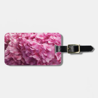 Pink Hydrangea bloom closeup flower photograph. Luggage Tag