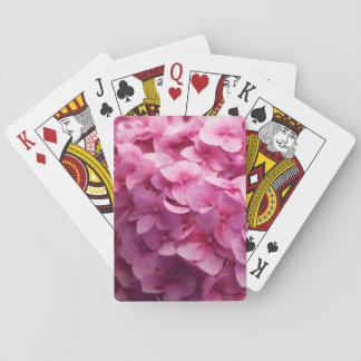 Pink Hydrangea bloom closeup flower photograph. Poker Deck
