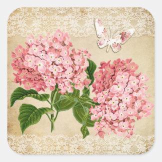 Pink hydrangea butterfly shabby chic wedding square sticker
