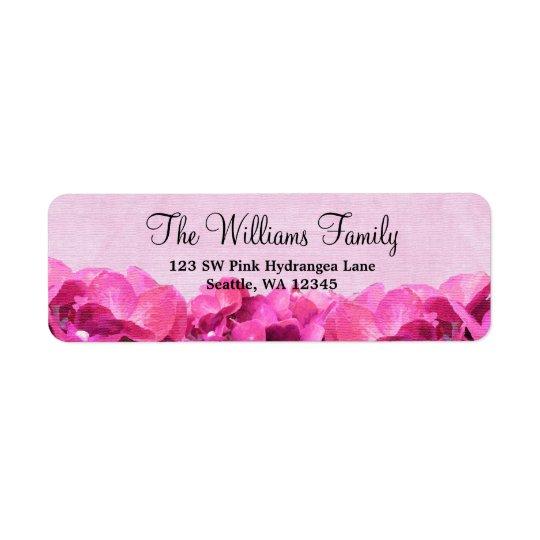 Pink Hydrangea Custom Address Label