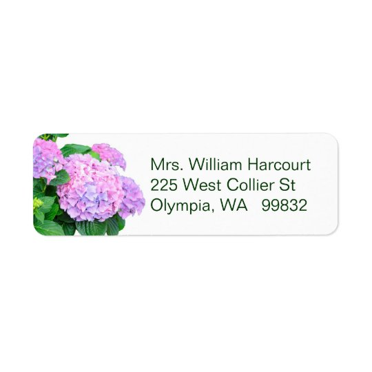 Pink Hydrangea Flowers address label