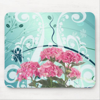Pink Hydrangea Flowers Vintage Pattern Mouse Pad