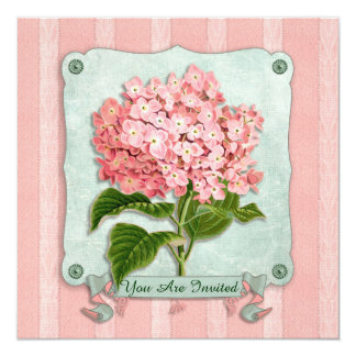 Pink Hydrangea Green Ribbon Paper Striped Fabric Announcements