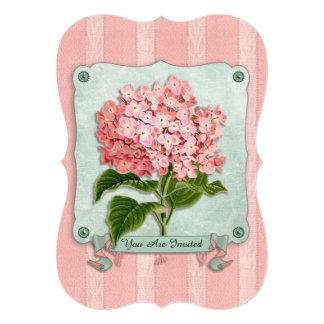 Pink Hydrangea Green Ribbon Paper Striped Fabric Invitations