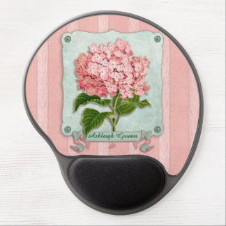 Pink Hydrangea Green Ribbon Striped Paper Cutouts Gel Mouse Pad