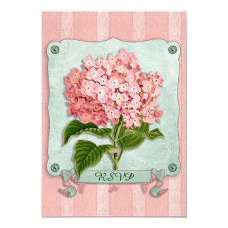 Pink Hydrangea Green Ribbon Striped Paper Cutouts Invitations