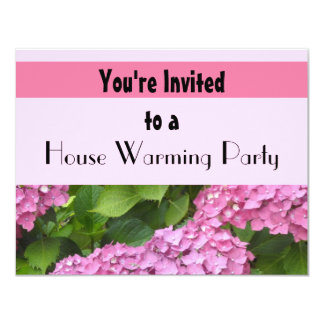 Pink Hydrangea House Warming Party Card