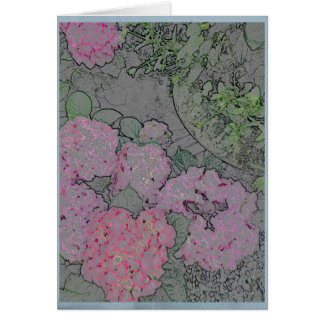 Pink hydrangea in a summer garden card