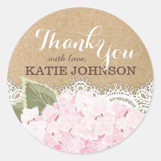 Pink Hydrangea Lace Kraft Thank You Label Round Sticker