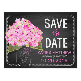 Pink Hydrangea Mason Jar Chalkboard Save the Date Postcard