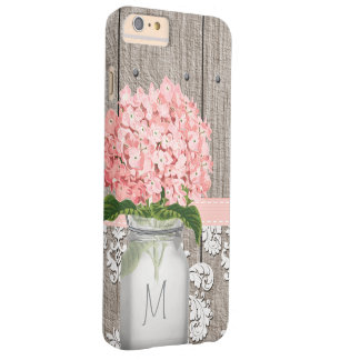 Pink Hydrangea Monogram Mason Jar Barely There iPhone 6 Plus Case