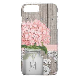 Pink Hydrangea Monogram Mason Jar iPhone 8 Plus/7 Plus Case