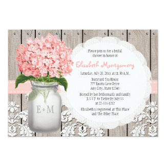 Pink Hydrangea Monogrammed Mason Jar Bridal Shower 13 Cm X 18 Cm Invitation Card