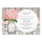 Pink Hydrangea Monogrammed Mason Jar Bridal Shower Card