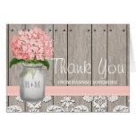 Pink Hydrangea Monogrammed Mason Jar THANK YOU Note Card