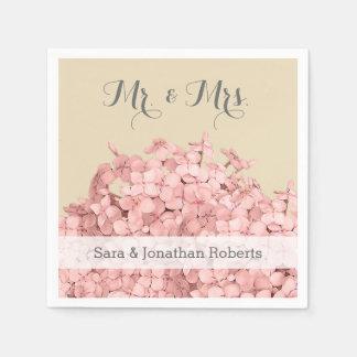 Pink Hydrangea on Khaki Personalized Wedding Disposable Serviette