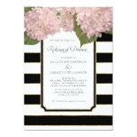 Pink Hydrangea Rehearsal Dinner Bold Stripe Modern 13 Cm X 18 Cm Invitation Card