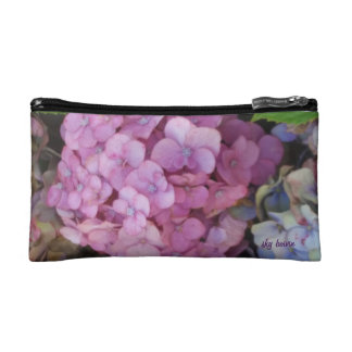 pink hydrangea small cosmetic bag