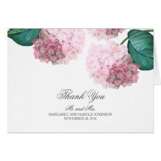 Pink Hydrangea Vintage Floral Wedding Thank You Card