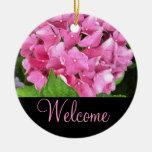 Pink Hydrangea Welcome Door Sign Christmas Ornaments