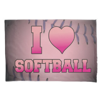 Pink I Heart Softball Pillowcase