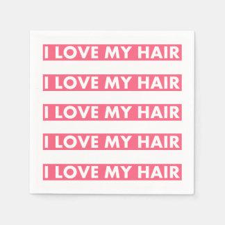 Pink I Love My Hair Bold Text Cutout Disposable Serviette