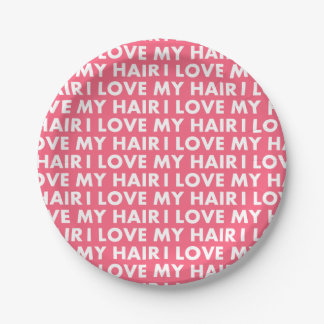 Pink I Love My Hair Bold Text Cutout Paper Plate