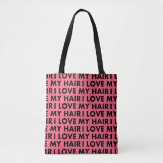 Pink I Love My Hair Text Cutout Tote Bag