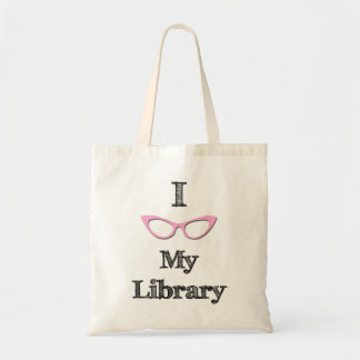Pink - I love my library Budget Tote Bag