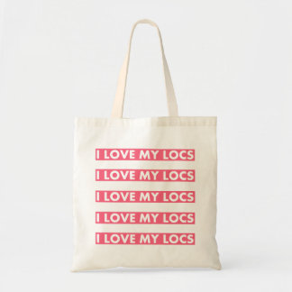 Pink I Love My Locs Bold Text Cutout Tote Bag
