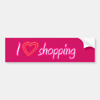 Pink I Love Shopping Bumper Sticker