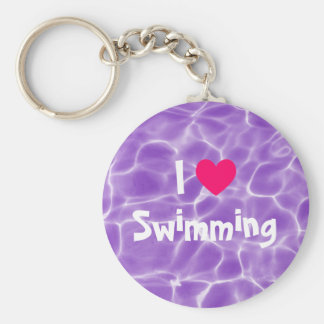 Pink I Love Swimming Purple Swimming Pool Basic Round Button Key Ring