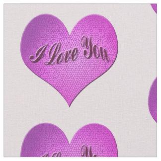 Pink I Love You Mosaic Heart Fabric
