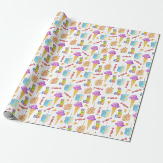 Pink Ice Cream Blue Birthday Cake Wrapping Paper