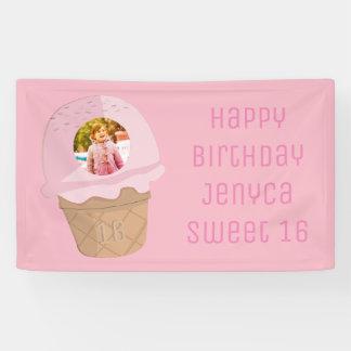 Pink Ice Cream Cone Photo Sweet 16 Birthday Banner
