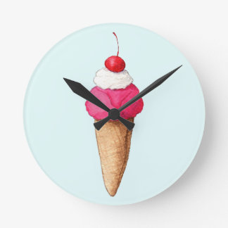 Pink Ice Cream Cone with a Cherry on Top Wall Clocks