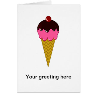 Pink Ice Cream Cone with Chocolate Syrup Greeting Card