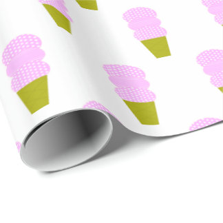 Pink Ice Cream Cones Wrapping Paper