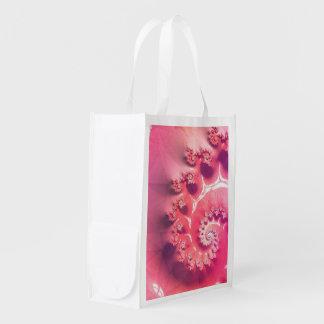 Pink Ice Cream for 21 Flavors of Fibonacci Reusable Grocery Bag