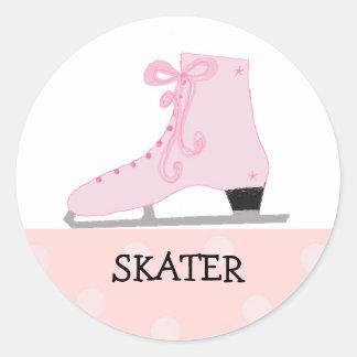 Pink Ice Skating Design Classic Round Sticker