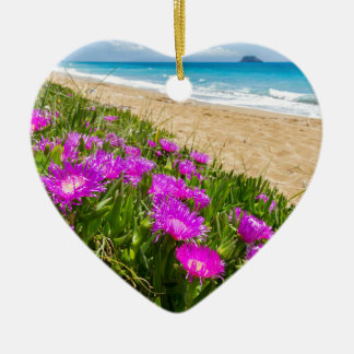 Pink icicle plants at coast in Greece Ceramic Heart Decoration