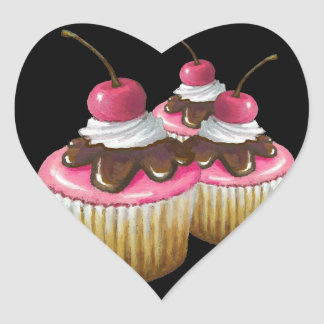 Pink Icing on Cupcakes: Cherry On Top: Art Heart Sticker