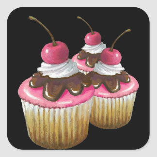 Pink Icing on Cupcakes: Cherry On Top: Art Square Sticker