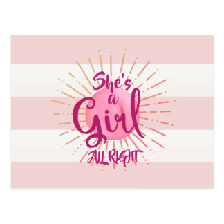 Pink Icing on Stripes Because It's A Girl Postcard