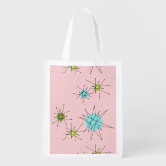 Pink Iconic Atomic Starbursts Grocery Bag